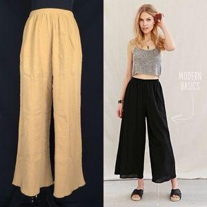 Urban renewal Gold Gauze Wide Leg Culottes Pants
